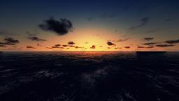 Flight across ocean, time lapse sunrise Footage