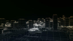 Flying in the city, sketch, edges glow Animation