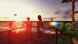 Girls on terrace chatting, seascape with air balloon and yacht sailing Animation