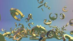 Golden EUR sign falling Animation