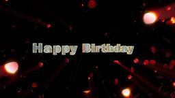 Happy Birthday and rose heart exploding, shine Animation