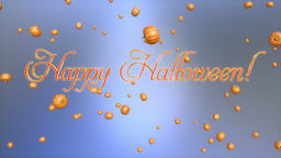 Happy Halloween title and pumpkins flying, Luma Matte Animation