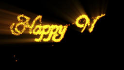 Happy New Year made from orange particles, against black Animation