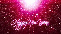 Happy New Year, holiday background with snowflakes against red Animation
