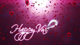 Happy Valentine, holiday background, red hearts falling Animation
