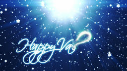 Happy Valentine, holiday background with snowflakes against blue Animation