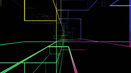 High tech colorful grid growing fly through, network concept Animation