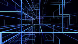 High tech grid growing, network concept, fly through Animation