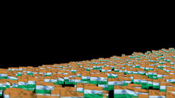 India Flags and Camera Fly Over, DOF Animation