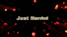 Just Married and rose heart exploding, shine Animation