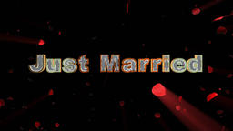 Just Married and rose heart exploding Animation