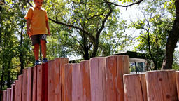 Little boy walking on wooden pillars Footage