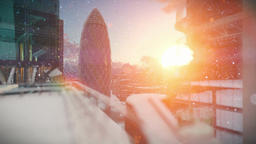 London at sunrise, snowing, Swiss Reinsurance Headquarters, The Gherkin Animation