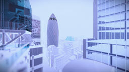 London in night with stormy lightnings and rain, Swiss Reinsurance Headquarters, Animation