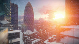 London at sunrise, snowing, Swiss Reinsurance Headquarters, The Gherkin, zoom in Animation