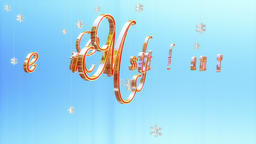 Merry Christmas title with floating Paper Flakes, against light blue Animation