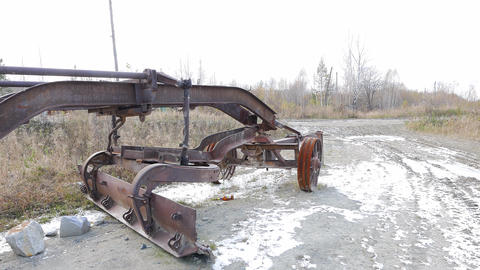 Old iron grader. Russia Footage