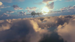Military Drone launching missiles, above morning clouds Animation