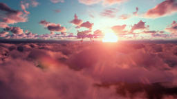 Military Drone launching missiles, above clouds at sunset Animation