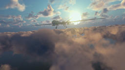 Military Drone launching missiles, above morning timelapse clouds Animation