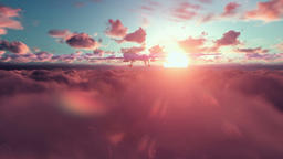 Military Drone launching missiles, above timelapse clouds at sunset Animation