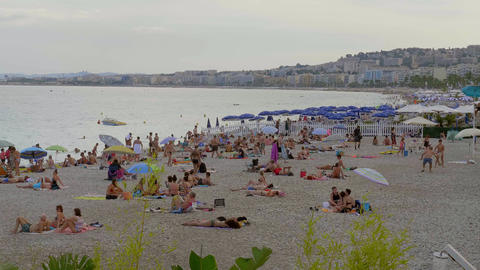 The Beaches and Beach Clubs at the Riviera of Nice - CITY OF NICE, FRANCE - JULY Live Action