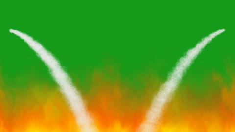 Water streams on fire with green screen background Videos animados