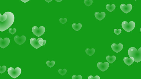 Heart bubbles motion graphics with green screen background CG動画