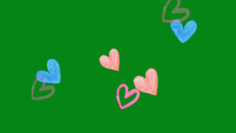 Hearts shapes motion graphics with green screen background Animation