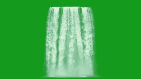 Waterfalls motion graphics with green screen background CG動画