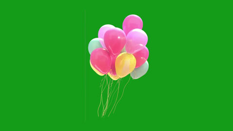 Flying balloons motion graphics with green screen background Animation