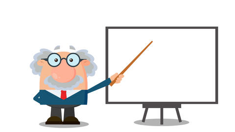 Professor Or Scientist Cartoon Character With Pointer Presenting On A Board CG動画