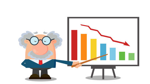 Professor Or Scientist Cartoon Character With Pointer Presenting A Falling Chart CG動画