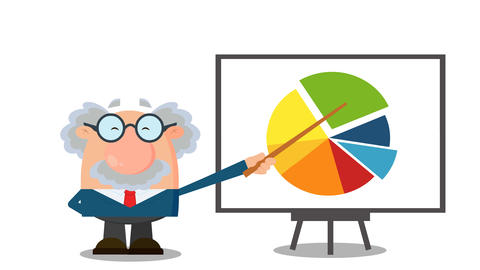 Professor Or Scientist Cartoon Character Pointing Progressive Pie Chart On A Board Animation