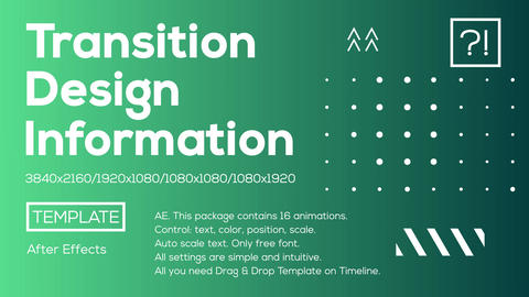 16 Info Transitions Plantilla de After Effects