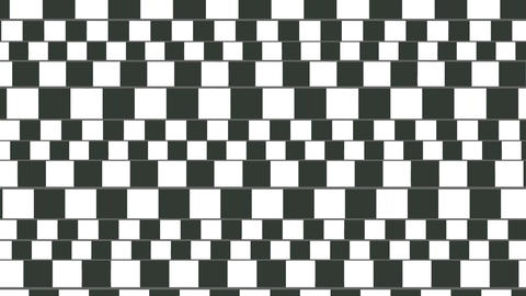 The hypnotic movement of the image is black with white square stripes Live Action