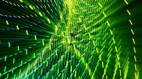 Fantastic video animation with moving particle object and lights, loop HD Animation