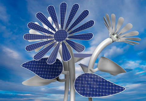 Group of 3 flower shaped solar panels with petals, leaves and long white stem with blue sky フォト