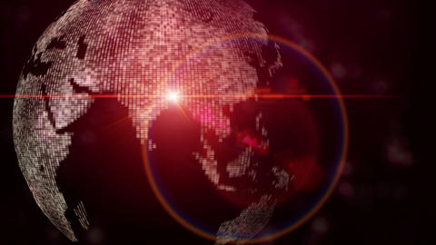 Futuristic animation with moving world map and lights, loop HD Animation