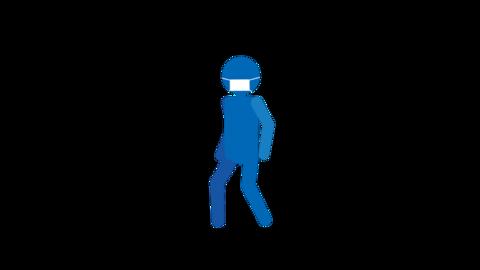 歩く ピクトグラム人物(マスク付き) ループアニメ CG動画