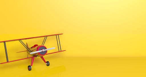 Red old model plane fly toy flight biplane animation old fly plane model toy model biplane flight Animation