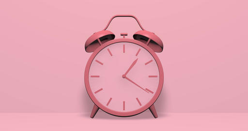 Pink clock hour alarm twin bell hour time hour clock alert alarm alert time alert clock wind up Animation