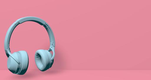 White headphones audio music earphone listen sound dj animation headphones earphone music audio Animation