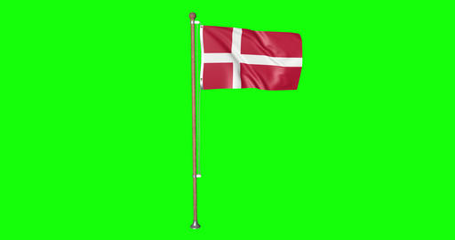 flag danish pole danish Denmark danish flag waving pole waving Denmark waving flag green screen pole Animation