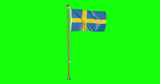 flag swedish pole swedish Sweden swedish flag waving pole waving Sweden waving flag green screen Animation