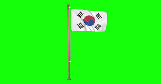 flag korean pole korean South Korea korean flag waving pole waving South Korea waving flag green Animation