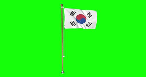 flag korean pole korean South Korea korean flag waving pole waving South Korea waving flag green Animation