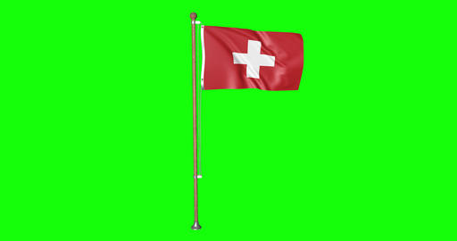 flag swiss pole swiss Switzerland swiss flag waving pole waving Switzerland waving flag green screen Animation