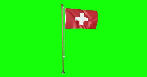flag swiss pole swiss Switzerland swiss flag waving pole waving Switzerland waving flag green screen Animation