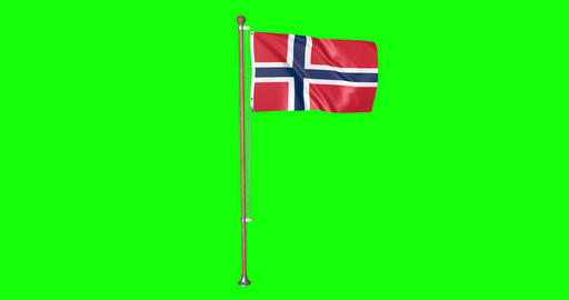 flag norwegian pole norwegian Norway norwegian flag waving pole waving Norway waving flag green Animation